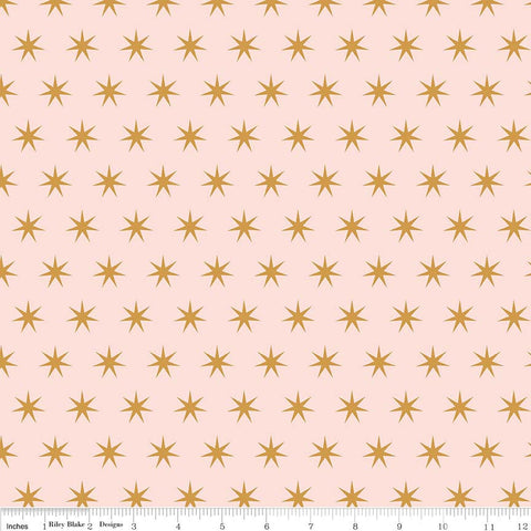 Just Sayin' Stars Pink SPARKLE - Riley Blake Designs - Gold Metallic - Quilting Cotton Fabric - choose your cut
