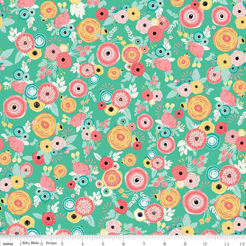 Just Sayin' Floral Mint - Riley Blake Designs - Green Flowers - Quilting Cotton Fabric - choose your cut