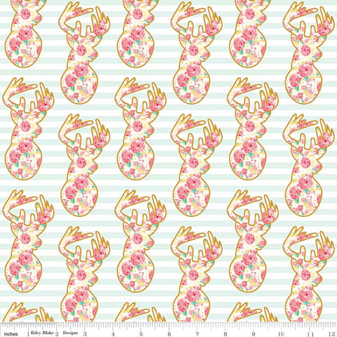 SALE Just Sayin' Deer Mint SPARKLE - Riley Blake Designs - Floral Gold Metallic Green Stripes - Quilting Cotton Fabric - choose your cut
