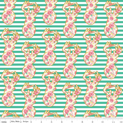 Just Sayin' Deer Teal SPARKLE - Riley Blake Designs - Floral Gold Metallic Green Stripes - Quilting Cotton Fabric - choose your cut