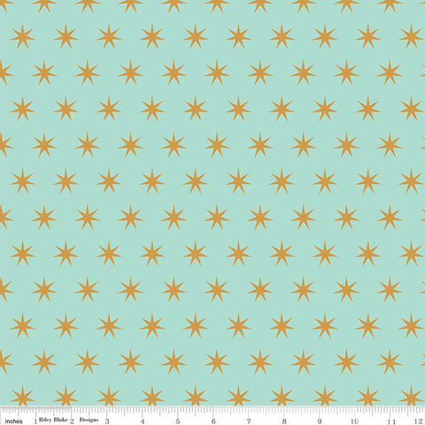 SALE Just Sayin' Stars Mint SPARKLE - Riley Blake Designs - Green Gold Metallic - Quilting Cotton Fabric - choose your cut