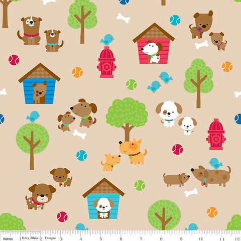 Puppy Love Main Tan - Riley Blake Designs - Brown Dogs Pets Trees - Quilting Cotton Fabric - choose your cut