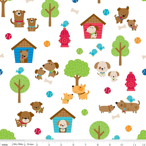 Puppy Love Main White - Riley Blake Designs - Dogs Pets Trees - Quilting Cotton Fabric - choose your cut