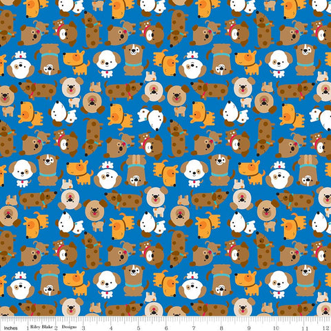 Puppy Love Blue - Riley Blake Designs - Dogs Pets Animals - Quilting Cotton Fabric - choose your cut