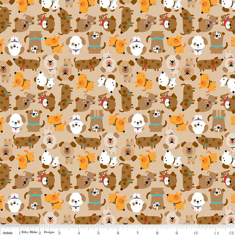 Puppy Love Tan - Riley Blake Designs - Brown Dogs Pets Animals - Quilting Cotton Fabric - choose your cut