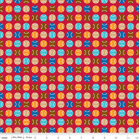 SALE Puppy Love Dots Red - Riley Blake Designs - Balls Sports Games - Quilting Cotton Fabric - choose your cut