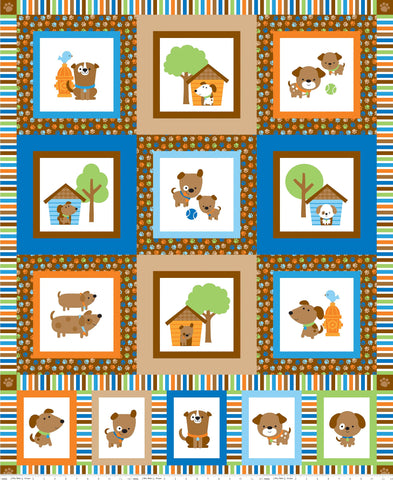 SALE Puppy Love Panel Orange - Riley Blake Designs - Blue Dogs Pets - Quilting Cotton Fabric