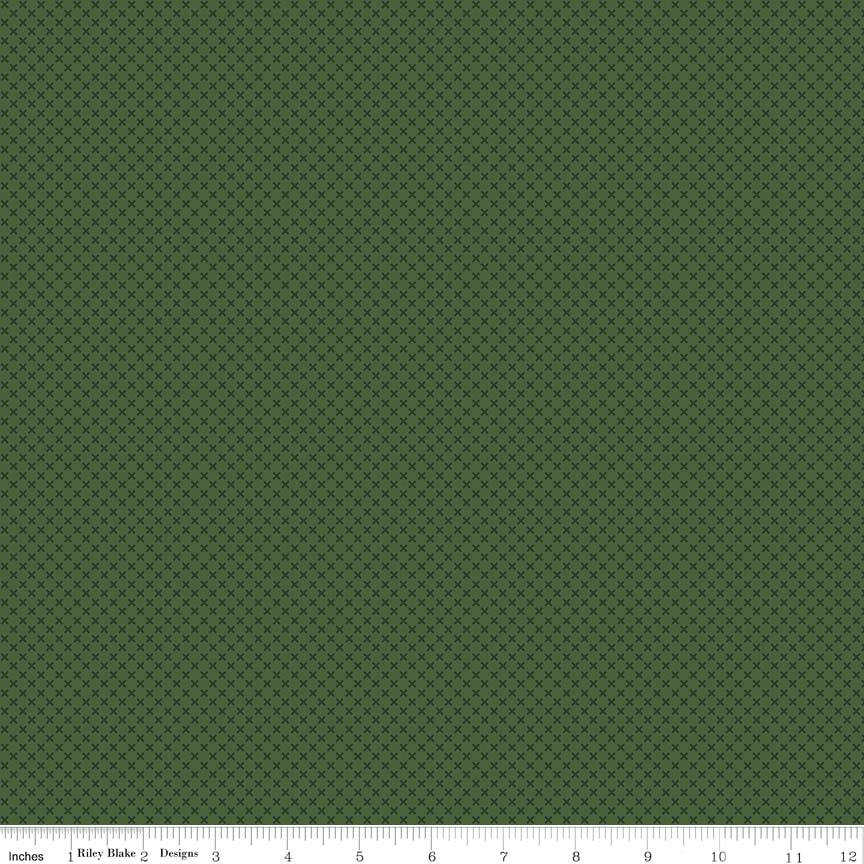 SALE Hunter Green Kisses Tone on Tone by Riley Blake Designs - Basic Coordinate - Quilting Cotton Fabric