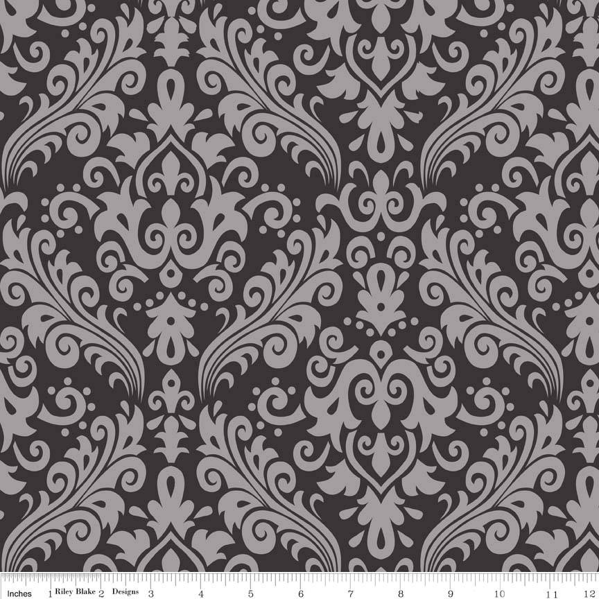 CLEARANCE Sparkle Silver Medium Damask White on Black Pearlized Metallic - Riley Blake Designs -  Quilting Cotton Fabric - by the yard