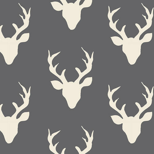 Hello Bear Buck Forest Moonstone - Deer Head Charcoal Gray - Art Gallery - Jersey KNIT cotton lycra stretch fabric - choose your cut