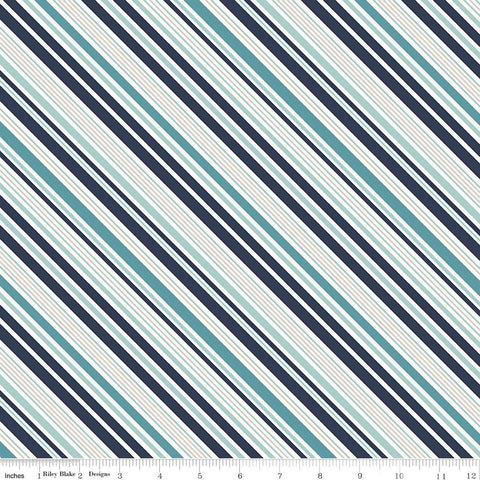 Game Day Sports Stripe Navy - Riley Blake Designs - Blue Stripes - Quilting Cotton Fabric - choose your cut
