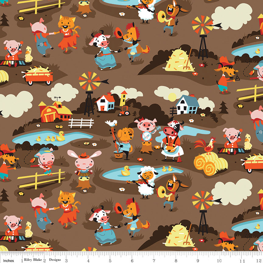 Harmony Farm Main Brown - Riley Blake Designs - Animals Pigs Cows Dogs Horses - Quilting Cotton Fabric