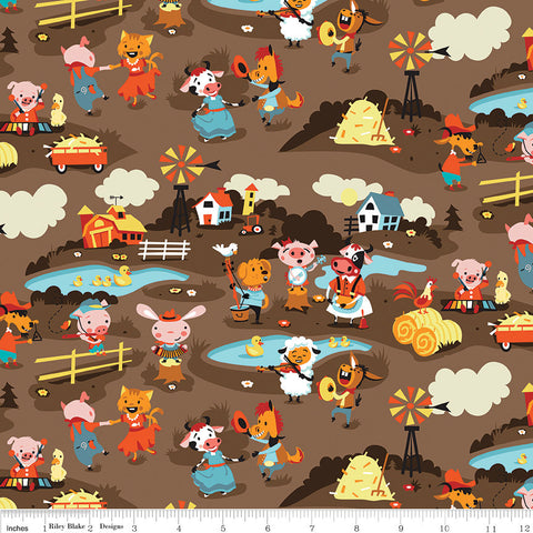 SALE Harmony Farm Main Brown - Riley Blake Designs - Animals Pigs Cows Dogs Horses - Quilting Cotton Fabric - choose your cut