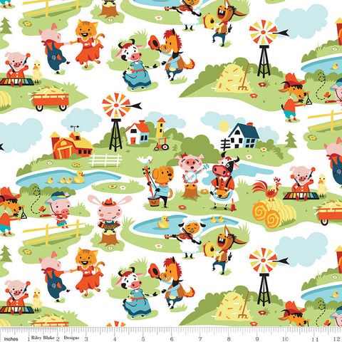 SALE Harmony Farm Main White - Riley Blake Designs - Animals Pigs Cows Dogs Horses - Quilting Cotton Fabric - choose your cut