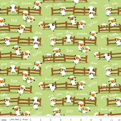 SALE Harmony Farm Sheep Dream Green - Riley Blake Designs - Animals  - Quilting Cotton Fabric - choose your cut
