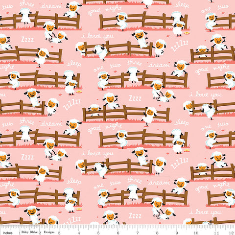 SALE Harmony Farm Sheep Dream Pink - Riley Blake Designs - Animals  - Quilting Cotton Fabric - choose your cut