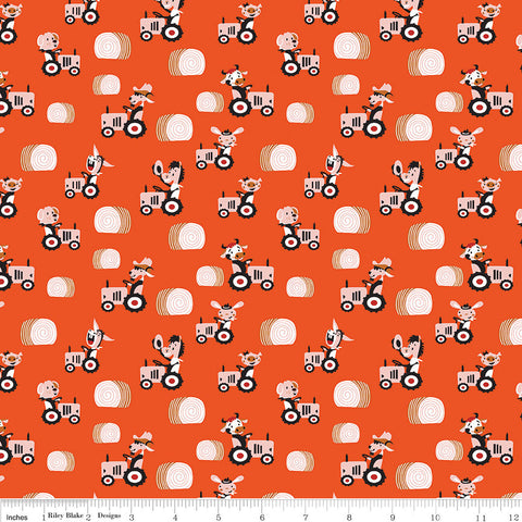 SALE Harmony Farm Happy Harvester Red - Riley Blake Designs - Animals Tractor Pigs Cows  Orange - Quilting Cotton Fabric - choose your cut