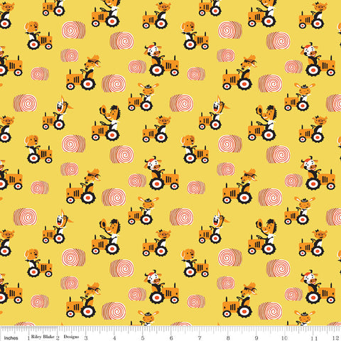 SALE Harmony Farm Happy Harvester Yellow - Riley Blake Designs - Animals Tractor Pigs Cows - Quilting Cotton Fabric - choose your cut