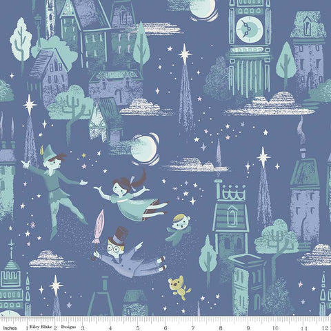 Neverland Main Blue - Riley Blake Designs - Peter Pan Tinkerbell - Quilting Cotton Fabric - choose your cut