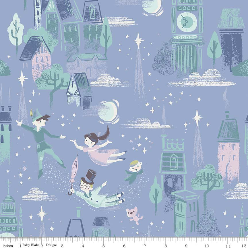 Neverland Main Periwinkle - Riley Blake Designs - Light Purple Peter Pan Tinkerbell - Quilting Cotton Fabric