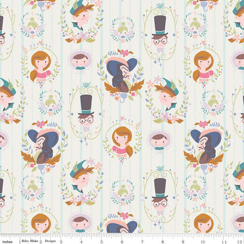 SALE Neverland Darling Wall Cream - Riley Blake Designs - Off white Peter Pan Tinkerbell - Quilting Cotton Fabric - choose your cut