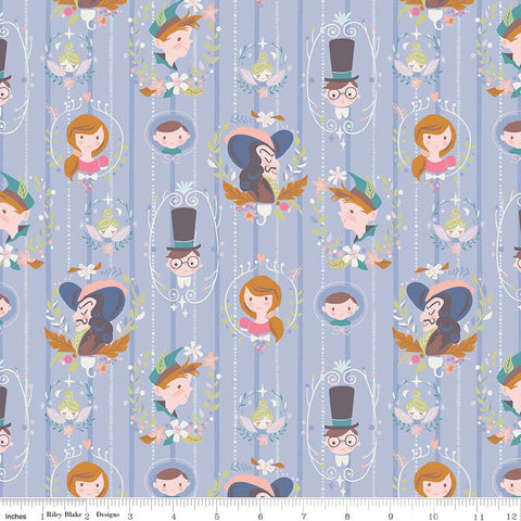 SALE Neverland Darling Wall Periwinkle - Riley Blake Designs - Light Purple Peter Pan Tinkerbell - Quilting Cotton Fabric - choose your cut