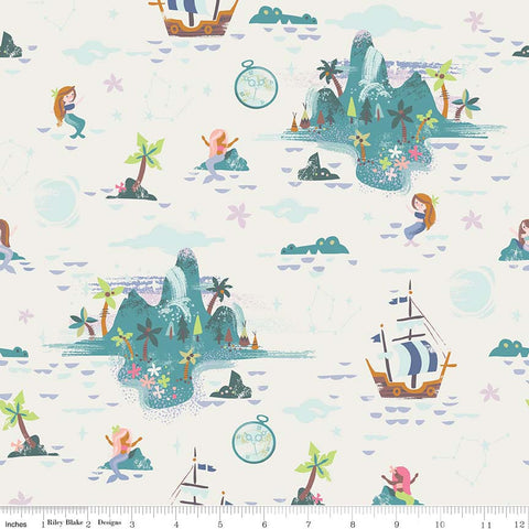 Neverland Island Cream - Riley Blake Designs - Off white Peter Pan Tinkerbell - Quilting Cotton Fabric - choose your cut