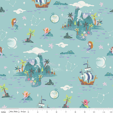 SALE Neverland Island Mint - Riley Blake Designs - Green Peter Pan Tinkerbell - Quilting Cotton Fabric - choose your cut
