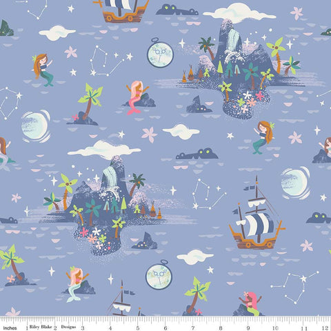 SALE Neverland Island Periwinkle - Riley Blake Designs - Purple Peter Pan Tinkerbell - Quilting Cotton Fabric - choose your cut