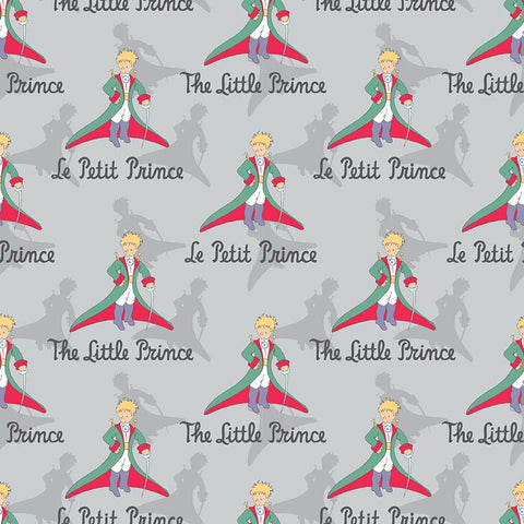 SALE The Little Prince Title Gray - Riley Blake Designs - Boy Grey - Quilting Cotton Fabric