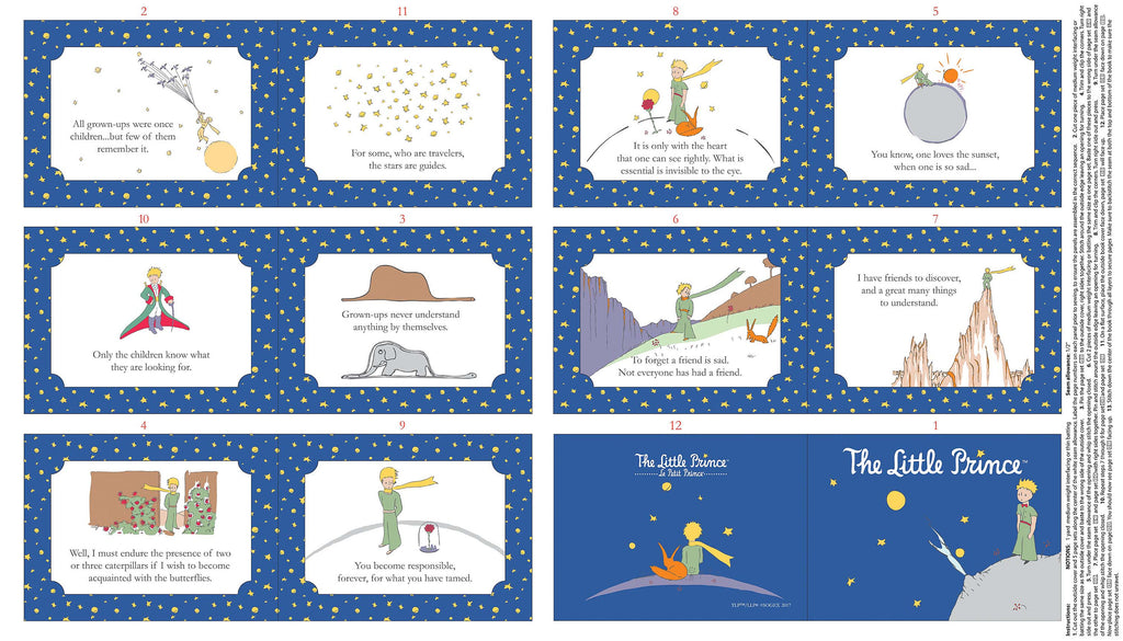 The Little Prince Soft Book Panel English Navy Blue - Riley Blake Designs - Quilting Cotton Fabric