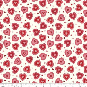SALE Kewpie Love Hearts Cream by Riley Blake Designs - Red Valentine - Quilting Cotton Fabric - choose your cut