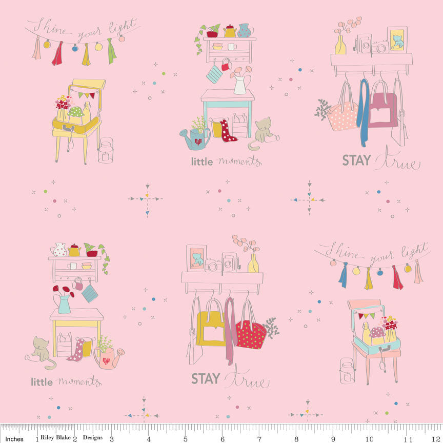 CLEARANCE Dear Diary Main Pink - Riley Blake Designs - Cats Clothes - Quilting Cotton Fabric - by the yard