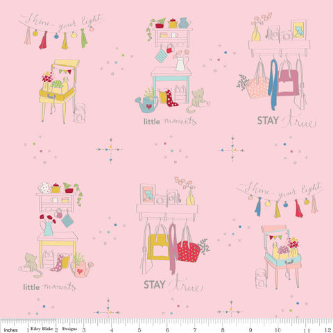 SALE Dear Diary Main Pink - Riley Blake Designs - Cats Clothes - Quilting Cotton Fabric