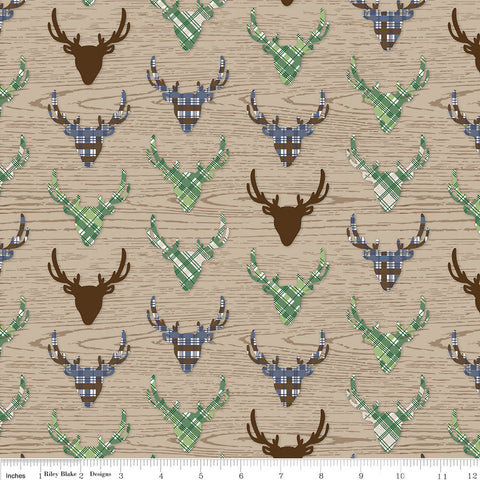 SALE The Great Outdoors Deer Tan - Riley Blake Designs - Deer Heads Antlers Hunting Brown Plaid - Quilting Cotton Fabric