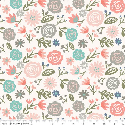 Heart and Soul Main Blush - Riley Blake Designs - Floral Flowers Cream Pink - Quilting Cotton Fabric - end of bolt pieces