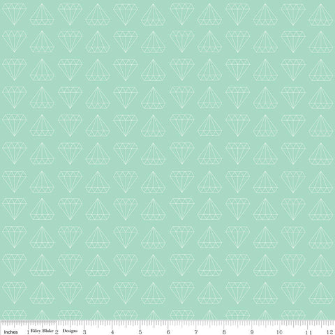 SALE Shine Bright Made to Sparkle Mint - Riley Blake Designs - Green Diamonds - Jersey KNIT cotton lycra stretch fabric - choose your cut