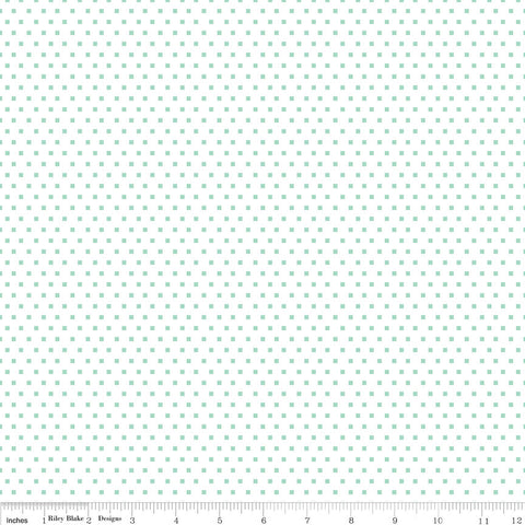 SALE Shine Bright Glitter Mint - Riley Blake Designs - Green White Polka Dots - Jersey KNIT cotton lycra stretch fabric - choose your cut