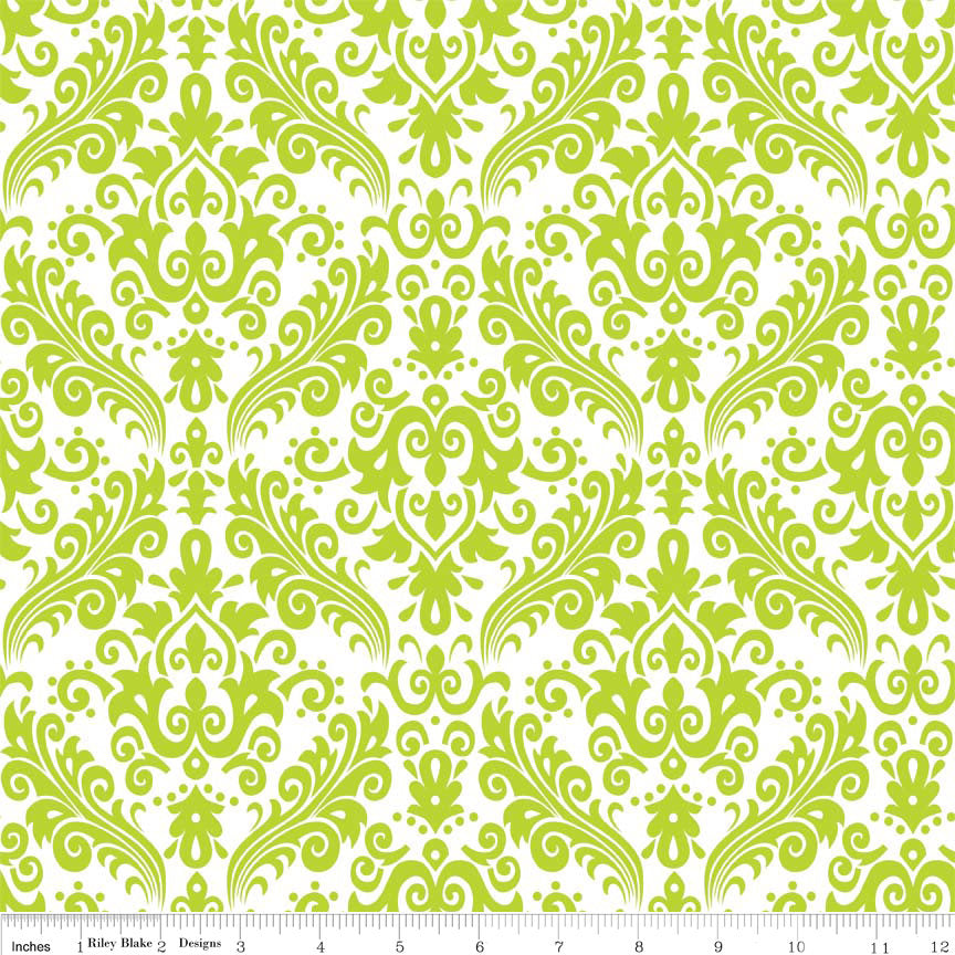 SALE Hollywood Medium Damask Lime on White - Riley Blake Designs - Green - Quilting Cotton Fabric - choose your cut