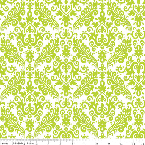 "CLEARANCE Hollywood Medium Damask Lime on White - Riley Blake Designs - Green - Quilting Cotton Fabric - 30"" end of bolt"