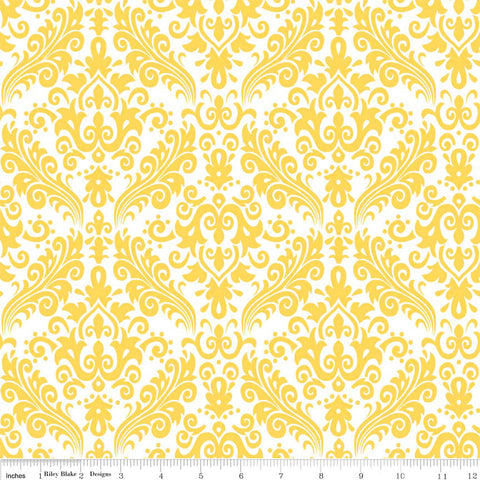 CLEARANCE Hollywood Medium Damask Yellow on White - Riley Blake Designs - Quilting Cotton Fabric - by the yard