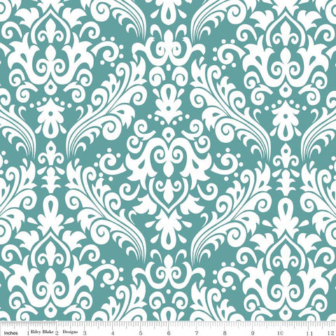 CLEARANCE Hollywood Medium Damask White on Teal - Riley Blake Designs - Green Blue - Quilting Cotton Fabric - by the yard