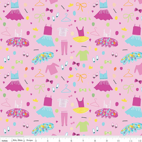 Ballerina Bows Wardrobe Pink - Riley Blake Designs - Ballet Dancing Clothes - Quilting Cotton Fabric