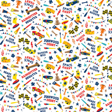 SALE Cub Scouts Derby White - Riley Blake Designs - Boy Scouts Pinewood Derby Car Racing - Quilting Cotton Fabric