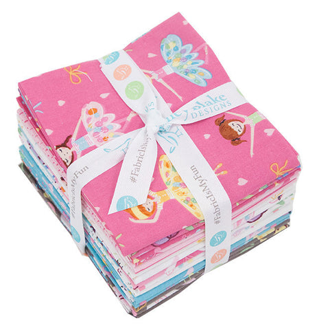 SALE Ballerina Bows Fat Quarter Bundle 15 pieces - Riley Blake Designs - Pre cut Precut Ballet Dancing - Quilting Cotton Fabric