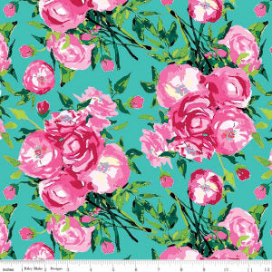 "Berkshire Garden Main Aqua - Riley Blake Designs - Lila Tueller - Green Blue Pink Flowers Floral - Quilting Cotton Fabric - 32"" end of bolt"