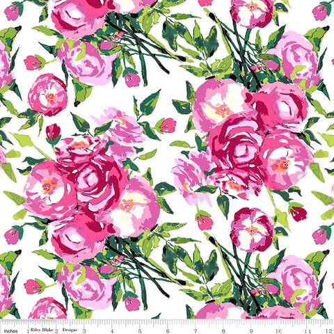 SALE Berkshire Garden Main White - Riley Blake Designs - Pink Floral Flowers - Quilting Cotton Fabric - end of bolt pieces