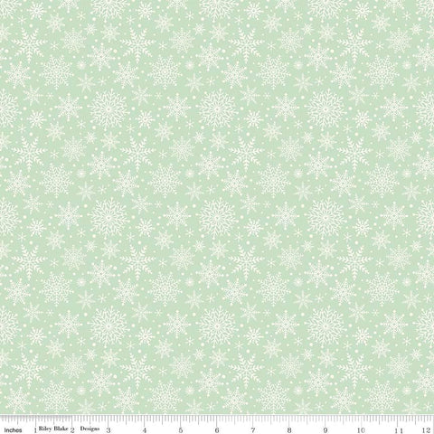 SALE Comfort and Joy Snowflakes Light Green by Riley Blake Designs - Christmas Holiday Cream Snow - Quilting Cotton Fabric - choose your cut