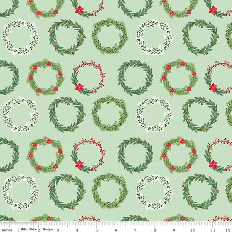 SALE Comfort and Joy Wreaths Light Green by Riley Blake Designs - Christmas Holiday Holly - Quilting Cotton Fabric - choose your cut