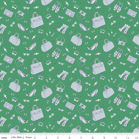 CLEARANCE Derby Day Accessories Green - Riley Blake Designs - Shoes Bags - Quilting Cotton Fabric - by the yard